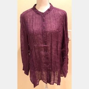 Eileen Fisher Mandarin Collar Linen Tunic,…